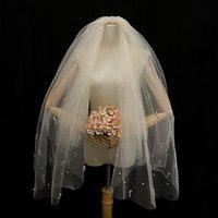 Hair Clips & Barrettes Arrive 85cm Cut Edge Comb White Long Bridal Veils One Layer Lace Beaded Pearls Wedding Tocados Para El Pelo