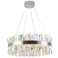 Lampadario a cristallo moderno per soggiorno LUSSO LED lampada CRISTAL LED rotonda oro / in acciaio lucido in acciaio lucido apparecchio di illuminazione