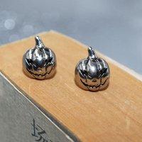 Stud Vintage Silver Color Mini Pumpkin Earrings Men Women Punk Biker Jewelry Halloween Gift