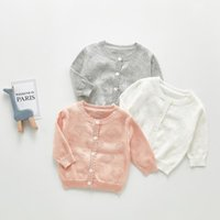 Spring Summer Baby Girl Thin Cardigan Climatisation Chemise à manches longues à manches longues Pull en coton Sweet Vêtements Pull