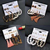 Dangle & Chandelier Fashion Pearl Aretes Earrings Set For Women Vintage Acetate Geometric Pendientes 2021 Trend Bohemia Long Tassel Jewelry