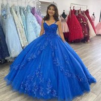 Blue Spaghetti Strap Quinceanera Dresses Lace Appliques Tier Ball Gown Prom Gown Corset Up Sequin Junior Birthday Sweet 15 Dress