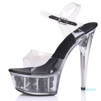 fashion-Dress Shoes Pole Dance Women High Heels Platform Transparent Stiletto Nightclub Model Catwalk Sandals Sexy Ladies Single 15cm