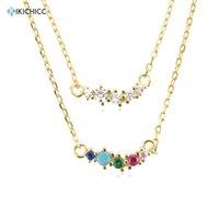 Chains KIKICHICC 925 Sterling Silver 18K Gold PlatedGuadaloupe Simple Pendant Line Crystal Zircon CZ Luxury Jewelry Gift Rainbow Jewels