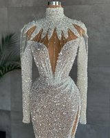Luxury Mermaid Sparkly Prom Dresses Beaded Sequined High Split Evening Dress Sexy Illusion Dubai Formal Party Second Reception Gown Robe de mariée