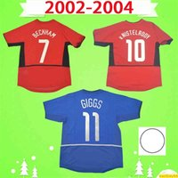 Manchester Cup 02 04 Ronaldo V. Nistelrooy Beckham Solskjaer Giggs Retro 2002 2004 Camisa de Futebol Uniforme Vintage Soccer Jersey Man Utd