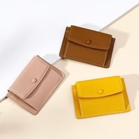 Card Holders Portable Holder For Man Solid Color Money Clip Buckle Multi-Function Short Women's Wallet Made Of Leather Small Coin Purse