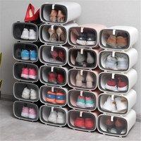 الأحذية البلاستيكية مربع تكويم الأحذية شفافة عرض مجلس الوزراء تخزين مربع خزانة مع غطاء الغبار حذاء الحذاء الجدار المنظم 1 قطعة