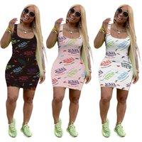 Kadın Tasarımcılar Giysileri 2021 Elbiseler Gündelik Mektup Baskı Yaz Yelek Modelleri için Kolsuz Maxi Elbise