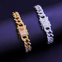 Stonefans Hip Hop Miami Cuban Link Bracelet Iced Out Letter for Women Bling Baguette A-z Initials Jewlery