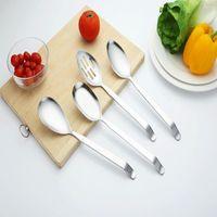 Spoons Stainless Steel Suspensible Cookware Soup Spoon Colander Truner Restaurant Serving Kitchen Tools Cooking Utensil 4pcs set