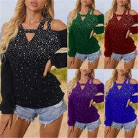 Girl Strapless Hot Drilling T-shirts Fashion Trend V Neck Long Sleeve Solid Colors Tops Tees Designer Female Spring New Casual Loose Tshirt