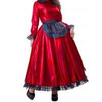 Casual Dresses Sissy Maid Metallic Long Maxi Dress Puff Sleeve Laser Crossdresser Unisex Pleated With Lace Apron Lolita Cosplay Costume