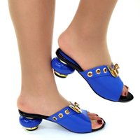 Dress Shoes 2021 Design Casual Fashionable Italian Comfortable In Blue Color Slingbacks Slippers African Ladies For Wedding