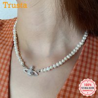 Trustdavis otantik 925 Ayar Gümüş Güzel Inci Planet Kolye Kolye Kadınlar Için Düğün Doğum Günü S925 Takı DS1089 201123