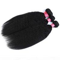 Paquetes de tejido de pelo rizado brasileño rizado con parte libre de cierre 100% Yaki 3 paquetes con cierre de encaje Yaki Human Virgin Hair