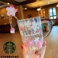 355ml Starbucks 레이저 사쿠라 유리 핑크 꽃잎 커피 머그컵 교반 막대 워터 컵 대용량 좋은 선물 제품