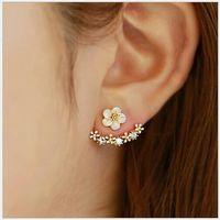 2021 جودة عالية مكافحة الحساسية الفضة النقية مجوهرات 925 فضة ديزي زهرة الأمامية والخلف اثنين من أقراط الأذن الأذن
