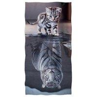 Handtuch Nette Katze Reflexion Tiger Druck Strand Weiß Tier Schnelltuch Bad Super weiche Polyester Duschhandtücher