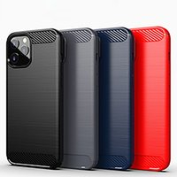 Brushed Carbon Fiber Print TPU Rugged Armor Cell Phone Cases Hidden Air Bag Design Full Body Protective Back Covers for iPhone Samsung Moto Google LG Nokia Sony Huawei