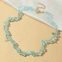 Chokers Bohemia Small Crystal Beads Necklace For Women Girls Travel Beaded Chain Irregular Gravel Ladies Fashion Jewelry