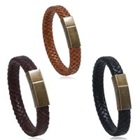 Tennis Vintage Manual Braided PU Leather Bracelets With Antique Bronze Clasp Black Brown Flat Bangle Stainless Steel