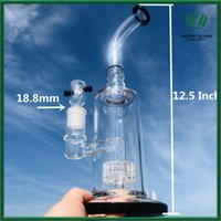 Straight Tube Glass Bongs 12.5inch Smoking Hookah Pipes Honeycomb Percolator Recycler Dab Rigs Wax Oil Bowl Piece 18mm Joint Bubbler