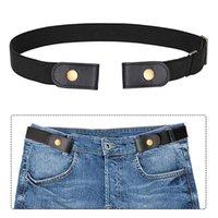 Belts Men Women Jeans Pants Waist Solid Universal Accessory Kids Adults No Buckle Belt Stretch Elastic Soft Dresses Invisible Black