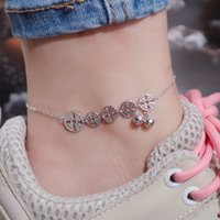 Anklets S925 Sterling Silver Bell Copper Coin Anklet Women's Simple Style Personality Attract Wealth and Treasure Popular