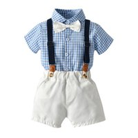 Clothing Sets Top And Summer Fashion Toddler Boys Gentleman Bow Tie Plaid T-Shirt Tops+Suspender Shorts Outfits