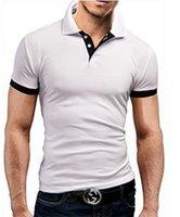 Erkek Polos Sıska Baskı Yaka Boyun Erkek Düğme Moda Kısa Kollu Tops