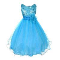 Meerjungfrau Pailletten Mädchen Kleid Multikarme Farbe Blume Flügelgaze Bodenlangen Rock Sommer Kinder Kleider Mädchen Ballkleid 350 l2