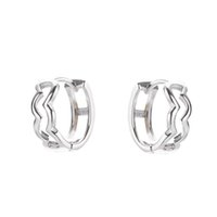 Boucles d'oreilles en argent sterling 925 bijoux plaqués or 18 carats avec boîte pour femmes hommes élégant goujon en forme de vague erreur
