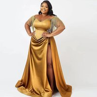 Plus Size Thigh Split Prom Dresses Sheer Jewel Neck Beading Tassel Evening Gowns Draped Satin Special Occasion Dress