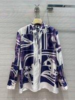 Milan pist gömlek 2021 sonbahar uzun kollu standı yaka çizgili baskı tasarımcı bluzlar marka aynı stil kadın 0720-5