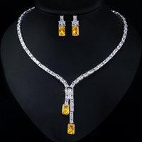 Earrings & Necklace Fashion Yellow Cz Earring Set Women Jewellery For Bridal Wedding