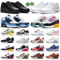 Toptan 90 Air Max Koşu Ayakkabıları 90 S Erkek Chaussures ABD Üçlü Siyah Beyaz Serin Gri Turkun Mahkemesi Mor Olmak Gerçek Mens Bayan Eğitmenler Açık Spor Sneakers