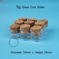 50pcs / lot Promotion 5G Petite bouteille de verre Refiilable 1 / 6oz Tube Tube Tube Vial Cork Bouchon 5ml Jar avec conteneur en bouchon vide Potheigh Qté