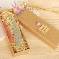 Bookmark Coloffice Classical Elegance Creative Feather Chinese Wind Natural Collectibles Exquisite Gift Box Pack 1PC