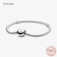 High Quality 16-23cm Original Solid S925 Silver Bracelets Heart Snake Chain Bangle Bracelet for Women DIY Jewelry Making