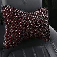 Sitzkissen Sommer Auto Kopf Kopf Kissen Massage Geflochtene Atem Holz Perle schützen Nacken Knochenförmige Mode Automobil Zubehör