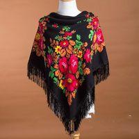 Scarves Russian National Women Square Scarf Big Size Cotton Flower Print Shawl Winter Ladies Retro Fringed Foulard Bandana