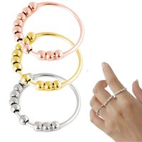 Anxiety Rings With Beads For Women, Fidget Ring,Stainless Steel Gold Silver Rose Gold Size 5-12