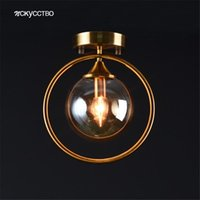 Ceiling Lights American Industrial Grey Glass Ball Gold Ring Led For Hallway Living Room Balcony Loft Decor Lamp Bar Fixtures