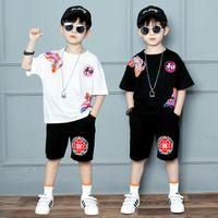 2-piece Summer Boy Short-sleeved Shirt Loose Shorts Korean Version Of Kids Casual T-shirt Fashion Handsome Sweatshirt 3-13 Years Old Children's Clothes Sets