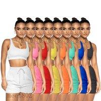 8 colores Chándal para mujer 2021 Verano U Cuello Color Sólido Color Sin mangas Chaleco Shorts Dos Piezas Conjuntos Moda Mujeres Casual Slim Piña Paño Yoga Trajes de Deportes