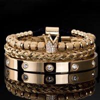 3 teile / satz luxus micro pave cz crown römische königlicher charme männer armbänder edelstahl kristalle armreifen paar handgefertigte schmuck geschenk