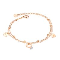 charm bracelets wristband for women double layer simple personality round bead love link chain rose golden ring stainless steel jewelry girls Valentines Day gifts