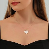 Chains Heart Necklace Women Sweet Necklaces Woman Fashion Simple Ladies Elegant Party Jewelry Gold Color Trendy Metal Collares