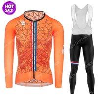 Yarış Setleri 2021 Hollandalı Ulusal Takım Turuncu Bisiklet Jersey Set Yaz Uzun Kollu Hollanda Giyim Yol Bisikleti Takım Elbise Pantolon Bib MTB Maillot